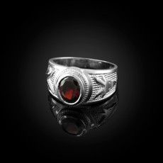 Sterling Silver Capricorn Zodiac Sign January Birthstone Red CZ Ring
