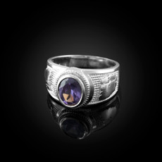 Sterling Silver Gemini Zodiac Sign June Birthstone Violet CZ Ring