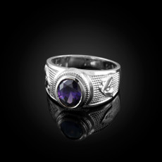 Sterling Silver Aquarius Zodiac Sign February Birthstone Purple CZ Ring