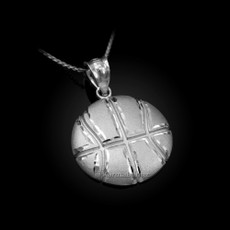 Sterling Silver Basketball Satin DC  Pendant Necklace