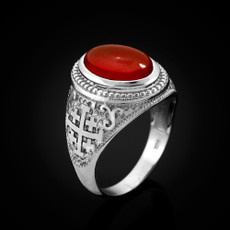 Sterling Silver Jerusalem Cross Red Onyx Gemstone Statement Ring