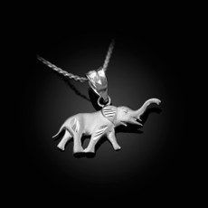 Satin DC Sterling Silver Elephant Charm Necklace
