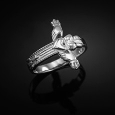 Sterling Silver Irish Claddagh Cross Ring