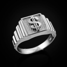 Sterling Silver Cash Money Dollar Sign Square Mens Ring