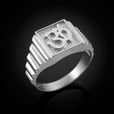 Sterling Silver Om (aum) Mens Square Yoga Ring