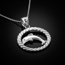 Sterling Silver Dolphin Round Rope Pendant Necklace