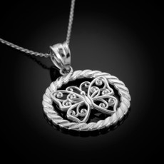 Sterling Silver Filigree Butterfly Round Rope Pendant Necklace