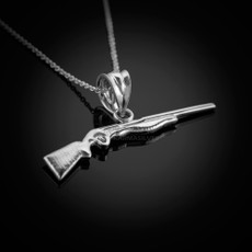 Sterling Silver Dainty Shotgun Charm Pendant Necklace