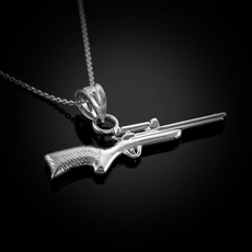 Sterling Silver Scope Sniper Rifle Pendant Necklace