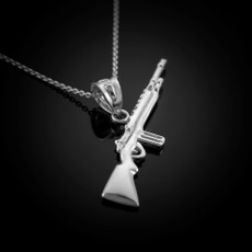 Sterling Silver Semi-Automatic Rifle Pendant Necklace