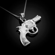Solid Sterling Silver Revolver Gun Pendant Necklace