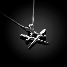 Sterling Silver Crossed Daggers Pendant Necklace