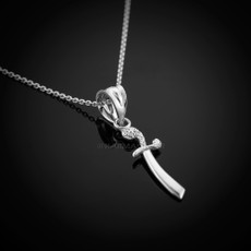 Sterling Silver Scimitar Sword Filigree Charm Necklace