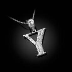 """Sterling Silver Nugget Initial Letter """"Y"""" Pendant Necklace"""