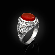 Sterling Silver Cash Money Dollar Sign Red Onyx Statement Ring