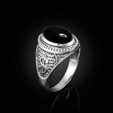 Sterling Silver Cash Money Dollar Sign Black Onyx Statement Ring