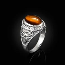 Sterling Silver Cash Money Dollar Sign Tiger Eye Statement Ring