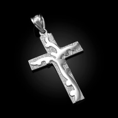Sterling Silver Flaming Cross Pendant
