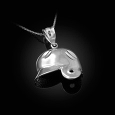 Sterling Silver Baseball Helmet DC Charm Necklace