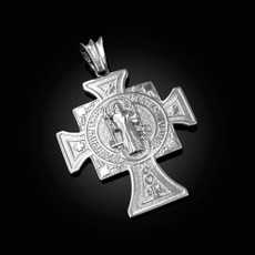 Solid Sterling Silver San Benito Cross Reversible Pendant