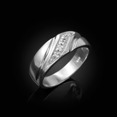 Sterling Silver Men's Diamond Wedding Band
