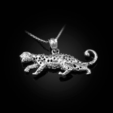 Sterling Silver Crawling Cheetah Pendant Necklace