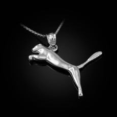Sterling Silver Jumping Puma Cat Pendant Necklace