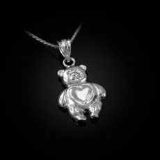 Sterling Silver Teddy Bear Charm Necklace