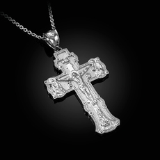 "Sterling Silver Russian Save and Protect ""СПАСИ И СОХРАНИ"" Cross Pendant Necklace"