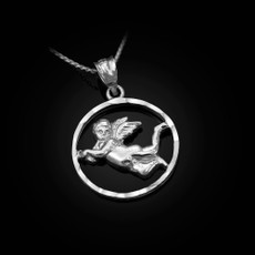 Sterling Silver Flying Angel Round DC Pendant Necklace