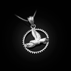 Sterling Silver Dove of Peace Round DC Pendant Necklace