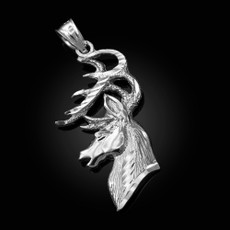 Sterling Silver Deer Buck Head DC Pendant