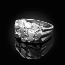 Mens Sterling Silver Nugget Ring