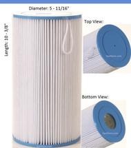 "JACUZZI® Spa Filter 2540-380 Filter Baleen: AK-4021, OEM: 43-2954-01-R, Pleatco: PJW23 , Unicel: C-5601 , Filbur: FC-1330, Diameter: 5-11/16"", Length: 10-3/8"""