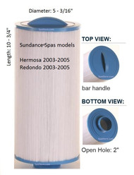 "Del Sol, Hermosa Sundance®, Jacuzzi® Spa Filter,  6540-723, Diameter: 5-1/2"", Length: 11"""