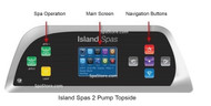 Artesian Spas Island Series Topside Control Panel TP800 With 2-Pumps & Overlay, 33-1314-08-11-1304-08-2P, Years 2013+