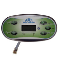 33-0648-08-1P Artesian South Seas Spas™ Topside Control Panel 5 Buttons 1 Pump With Overlay
