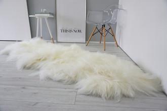Amazing Genuine Rare Breed - Double - Icelandic Sheepskin Rug - Natural Creamy White Colour