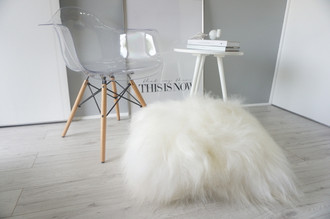 Giant - Genuine Natural - Floor Rare Breed Icelandic Sheepskin Cushion Pillow Creamy White Soft Long Wool