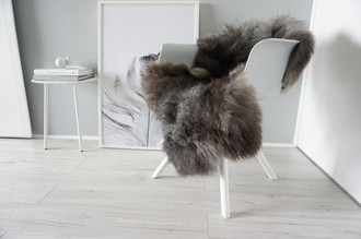 Genuine - Rare Breed Scandinavian Pelssau Sheepskin Rug - Soft Silky Wool - Brown / Silver / Grey / Ash Mix - SS 31