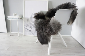 Genuine - Rare Breed Scandinavian Pelssau Sheepskin Rug - Soft Silky Wool - Black / Silver / Grey / Ash Mix - SS 35