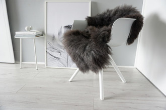 Genuine - Rare Breed Scandinavian Pelssau Sheepskin Rug - Soft Silky Wool - Brown / Black / Silver / Grey / Ash Mix - SS 36