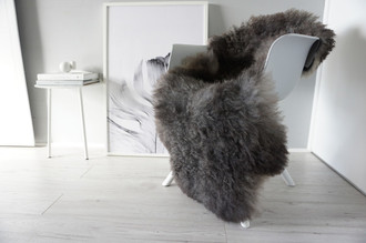 Genuine - Rare Breed Scandinavian Pelssau Sheepskin Rug - Soft Silky Wool - Silver / Grey / Brown /Black Mix - egSS 1