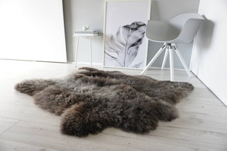 Genuine Rare Breed Scandinavian Pelssau - Double Side by SIde Sheepskin Rug - Soft Silky Wool - Brown, Silver, Latte Mix - SBS 5