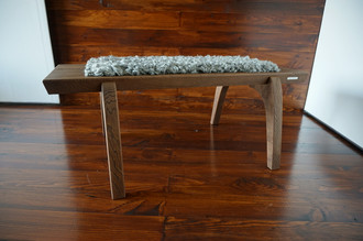 Minimalist Oak wood bench Upholstered with curly silver Scandinavian Gotland sheepskin - B0516O6
