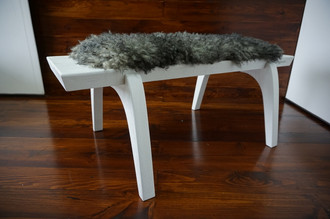 Minimalist white Oak wood bench Upholstered with curly silver Swedish Gotland sheepskin - B0516O11