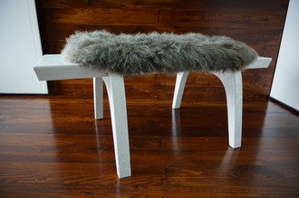 Minimalist white Oak wood bench Upholstered with curly silver mix Norwegian Pelssau sheepskin - B0516O15