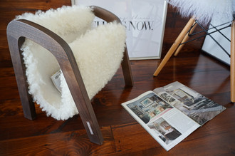 Oak wood Magazine Rack with genuine white British Leicester sheepskin rug - extra curly wool - (MR3)