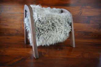 Oak wood Magazine Rack with genuine silver Swedish Gotland sheepskin rug - extra curly wool - (MR6)