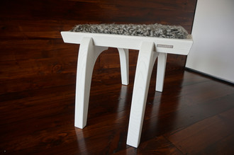 Minimalist white Oak wood stool Upholstered with curly silver Swedish Gotland sheepskin - S051602